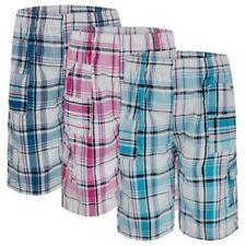 Niños De Cuadros Mezcla Algodón Pantalones cortos muchos bolsillos ¾ Largo