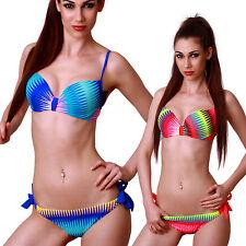 Sexy Push Up Tirante Biquini Traje De Baño moda zig zag Arco Iris Playa Verano