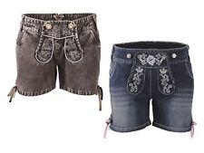 Damen Jeans Shorts Kurz Trachten Lederhosen Optik Trachtenhose Oktoberfest Wiesn