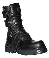 New Rock M.391 S.18 Black Metallic Reactor Punk Goth Rock Biker Unisex Boots