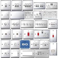 BG Nexus Decorative Light Switches & Sockets Polished Chrome White Inserts Range