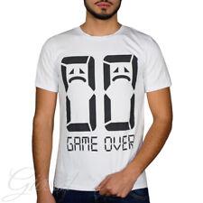 T-Shirt Uomo Mezza Manica Stampa Game Over Bianca Girocollo Slim GIOSAL