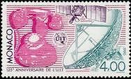 """MONACO N° 1718 """"UIT, TELEPHONE, SATELLITE, ANTENNE PARABOLIQUE""""xxTTB"""