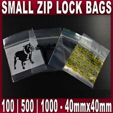 SMALL SEALY GRIP ZIP LOCK BAG SEAL STASH BAGS BAGGIES 4x4cm