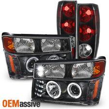 2004-2012 Chevy Colorado Black Headlights Pair + Bumper Lights + Tail Lights Set