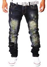 ZAHIDA Herren Jeans Chino Hose Cargo Destroyed Riss Risse Clubwear BLAU WOW NEU