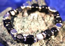 Black onyx coupe carrée gemstone bracelet reiki, guérison de cristal dans sac cadeau