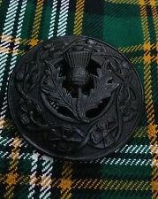 "Scottish Fly Plaid Brooch Thistle Crest Black Finish 3""/Kilt Fly Palin Brooches"