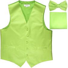 New Men's formal vest Tuxedo Waistcoat_bowtie & hankie set lime green wedding