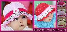 BABY SUN HAT -Sz 6 mths - 2 yrs  GIRLS SUNHAT - Toddler Cap NEW -Choose Colour