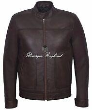 Men's Leather Fashion Jacket Chestnut BIKER STYLE SOFT REAL LEATHER M-124