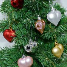 12X Christmas Tree Heart Shape Pendant Hanging Home Party Ornament Decor