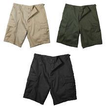 Men's BDU Combat Shorts Rothco Poly/Cotton BLK-KHAKI-ODGREEN-NAVY S M L XL 2X 3X
