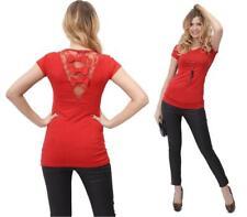 Longshirt Shirt Bluse mit Spitze am Rücken Gr. 36 38 S M 8025