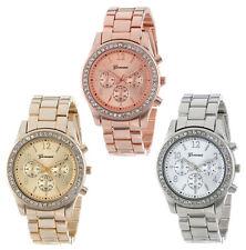 Geneva Reloj cuarzo Quartz de acero inoxidable para mujer bisel con cristales