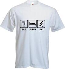 Eat Sleep Ski - Funny - Skiing - Quality T-shirt