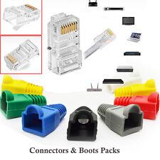 RJ45 Ethernet Network LAN Cat5e Patch Cable Crimp Plug End Connector & Boot Lot
