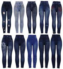 NEU Damen Dehnbar Dick Denim Print Denim Look Ripped Skinny Jeggings Jeansleggings