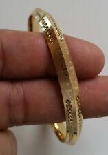 NEW Gold Plated Laser Engraved Khandas Sikh Singh Khalsa Kara Bangle Kada D9