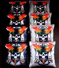 SKULL FLAMES Power Symbol  orange black 8 ACA Regulation Cornhole Bean Bags B183