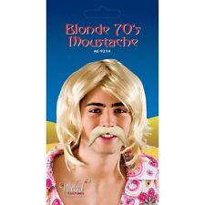 Mens 1970's Style Blonde Tash Fake Moustache Tache Fancy Dress Accessory Party