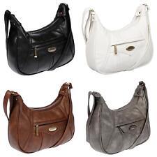 Damen Schultertasche Umhängetasche Handtasche Tasche Leder Optik Shopper Schwarz