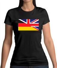 Half German Half British Flag - Womens T-Shirt - Britain - Germany - UK -England