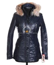 Jennifer Blue Knee Length Hooded Fur Ladies Retro Real Lambskin Leather Jacket