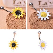 Great Daisy Flower Dangle Belly Button Body Piercing Belly Bars Navel Rings GT