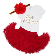 Infant Baby Girl's Christmas Outfit Short Sleeves Romper Tutu shirt headband set