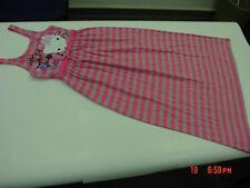 NWOT NWT Girls Hello Kitty Maxi Dress Striped Pink Gray Summer Glitter Stars