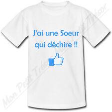 T-shirt Enfant J'ai une Soeur qui déchire! 2 couleurs au choix frère famille