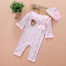 2pcs Girl Baby Cap Hat+Romper Bodysuit Jumpsuit Leopard Clothing Outfit 0-9M Set