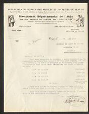 "TROYES (10) FEDERATION NATIONALE des MUTILES & INVALIDES du TRAVAIL ""AUBE"" 1938"