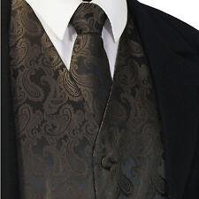 Brown Paisley Tuxedo Suit Dress Vest Waistcoat & Neck Tie Wedding Prom20-Q