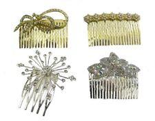 Silver Gold Crystal Diamante Bridal Hair Comb Wedding Prom Side Tiara Slide UK