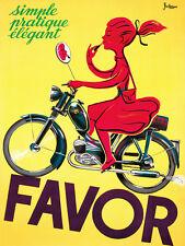 Favor  Motorcycle Girl on Motor Bike Italian Vintage Poster Repro FREE S/H in US
