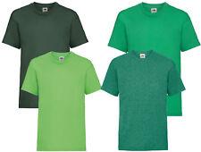 Plain Green Fruit of the Loom Cotton Childrens Kids Boys Girls T Shirt Tee