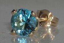Brand New 5mm Blue Topaz Mens Single 9ct Gold Stud Earring