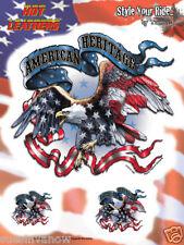 Biker Entusiast set decals tank Eagle Flag window   sticker  american heritage