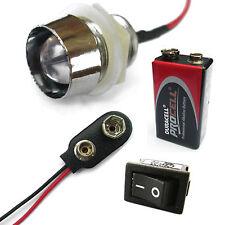 ALL 10mm LED COLORI MULTIUSO 12V INTERRUTTORE + BATTERIA PP3+ + interruttore