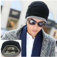 Unisex Winter Crochet Knit Plicate Baggy Beanie Wool Hat Warm Fur Lined Cap S