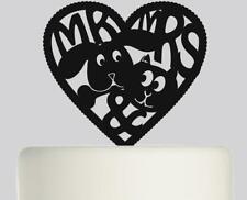 MR E Mrs gatto e cane in Heart Wedding Cake Topper Acrilico .379