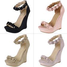 New Open Toe Button Stud Ankle Strap Sky High Platform Wedge Heel Pump Sandal US