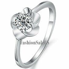 Silver Plated Flower w/ Cubic Zirconia Women's Rings Love Eternal Wedding Band