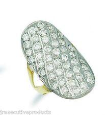 9k Oro Giallo Zirconia Cubica Grande 30mm Anello A Grappolo 7.50 grammi