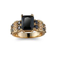 Handmade Gift Black Onyx White Gemstone Fire Topaz Silver Woman Ring Size 6-10