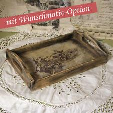 Vintage Holztablett 30x20 cm Tablett Serviertablett Frühstückstablett Handarbeit