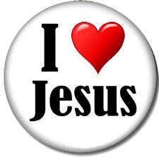 I Love Jesus Pin-Back Button - Christian Heart Lord Savior Christ Catholic Amen
