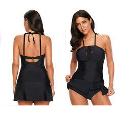 Black blouson style floral t-back tankini top tops solid lacing womens swimwear